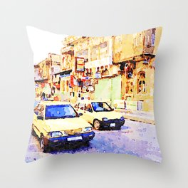 Aleppo: Taxi through the streets of Aleppo Throw Pillow