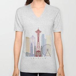 Seattle V2 skyline poster Unisex V-Neck