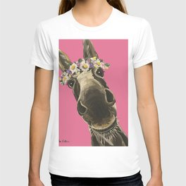 Pink Donkey Art, Flower Crown Donkey Art T-shirt