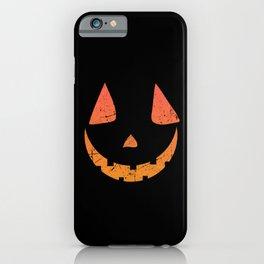 Pumpkin Face Halloween Costume Distressed iPhone Case