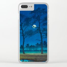 Vintage Japanese Woodblock Print Three Tall Trees At Night Forest Field Landscape Clear iPhone Case