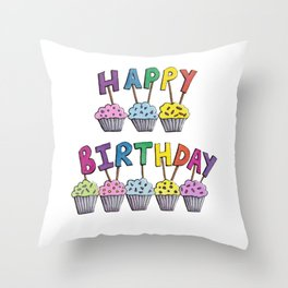 Happy Birthday Cupcakes Throw Pillow