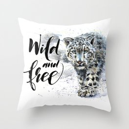 Snow leopard Wild and Free Throw Pillow