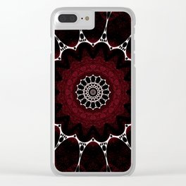 Deep Ruby Red Mandala Design Clear iPhone Case