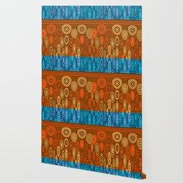 Orange and blue design Wallpaper