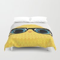 nerd Duvet Covers featuring Nerd Chick by WyattDesign