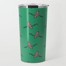 Pink Flamingo watercolor pattern emerald Travel Mug