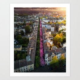 Cherry Blossom Street in Germany Art Print