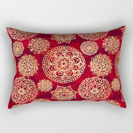 Red and Gold Mandala Pattern Rectangular Pillow