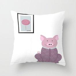 Pig in a Onesie Throw Pillow