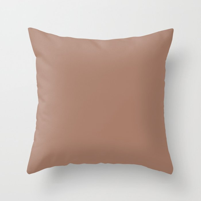Colors of Autumn Tawny Brown Solid Color Throw Pillow