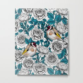 Rose flowers and goldfinch birds  Metal Print