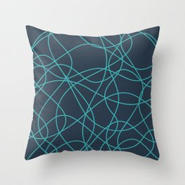Aqua Teal Turquoise Solid Color Scribbled Lines Abstract Hand Drawn Mosaic on Dark Navy Blue - Aquarium SW 6767 Throw Pillow