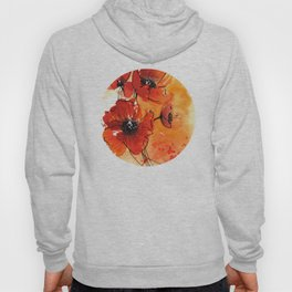 Red Poppy Flowers Watercolor Painting Hoody