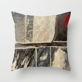 Textured Marble Popular Painterly Abstract Pattern - Black White Gray Red Throw Pillow