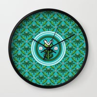 deco Wall Clocks featuring 8bit Deco by Bubblegun