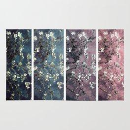 Vincent Van Gogh : Almond Blossoms Panel aRt Dark Pink Eggplant Teal Rug