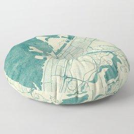 Dubai Map Blue Vintage Floor Pillow