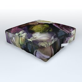 Roses dark moody Old Masters style floral pattern Outdoor Floor Cushion