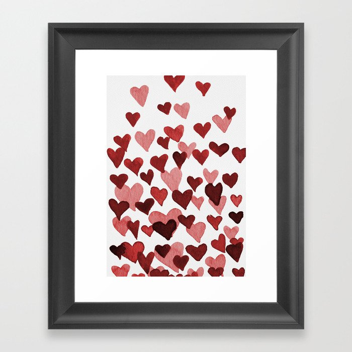Valentine's Day Watercolor Hearts - red Gerahmter Kunstdruck
