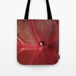 Leaf Red with Water Droplet Tote Bag