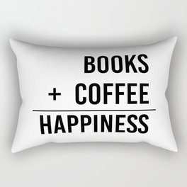 Books + Coffee = Happiness - Typography Rectangular Pillow