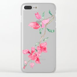 red  pink  bougainvillea watercolor Clear iPhone Case