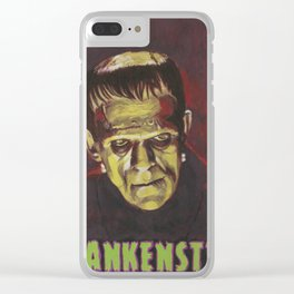 Frankenstein 1931 Boris Karloff In Color With Text Logo Clear iPhone Case