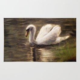 White Swan Painting Rug