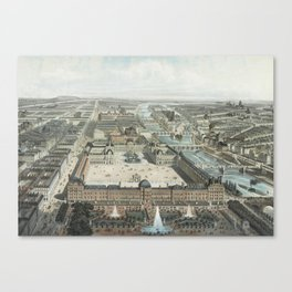 modern Paris. The Tuileries, the Louvre, and the Rue de Rivoli, view from the Garden Tuileries Canvas Print