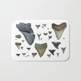 Fossil shark teeth watercolor Bath Mat