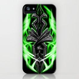 Skull ornament green iPhone Case