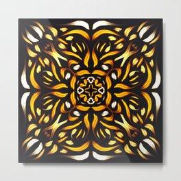 Fire Mandala - Fiery Symmetric Flower Metal Print