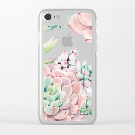 Pink Succulents by Nature Magick Clear iPhone Case