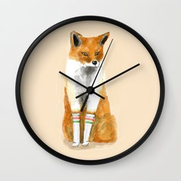 Fox with Socks Wall Clock