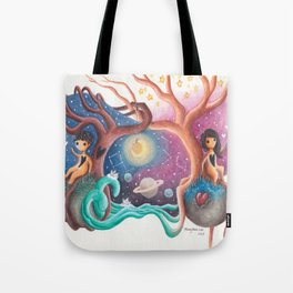 Girl and Boy In Love From Different Worlds Tote Bag