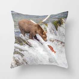 Grizzly bear face to face with salmon Throw Pillow