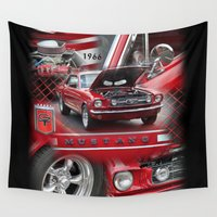 mustang Wall Tapestries featuring 1966 Mustang  by Andrew Sliwinski