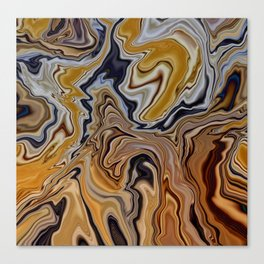 GYRE golden swirls navy accent marble like design Canvas Print