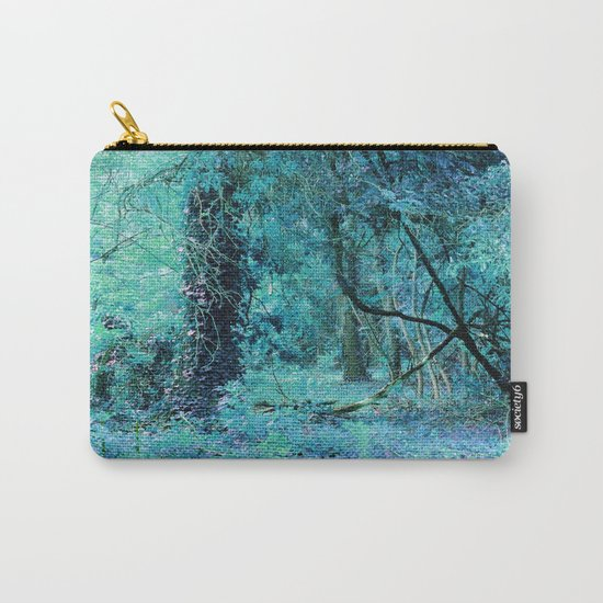 Aqua Teal Tree Landscape Carry-All Pouch