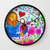 beauty and the beast Wall Clocks featuring Beauty and the Beast by Sandra Nascimento