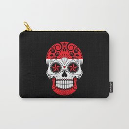 Sugar Skull with Roses and Flag of Austria Carry-All Pouch
