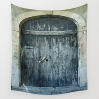 newspaper Wall Tapestries featuring Blue door by Maria Heyens