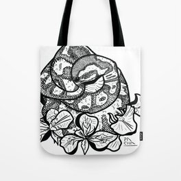 Python and iris flowers Tote Bag
