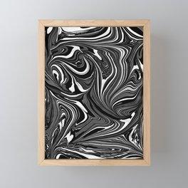 Black White Grey Marble Framed Mini Art Print