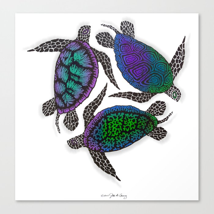 TURTLES CIRCLE Canvas Print