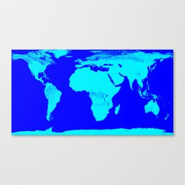 World Map Turquoise Blue Canvas Print