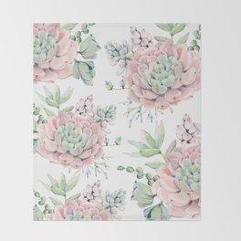 Pretty Pink Succulents Garden Throw Blanket