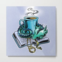 Snuggly dragon and a coffee cup Metal Print