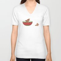 jaws V-neck T-shirts featuring Gingerbread Jaws by Teo Zirinis